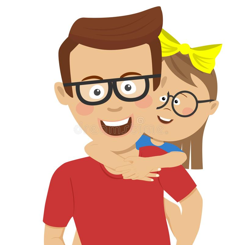 Père heureux donnant sur le dos la conduite à son descendant Fille heureuse montant sur le dos sur son père illustration de vecteur