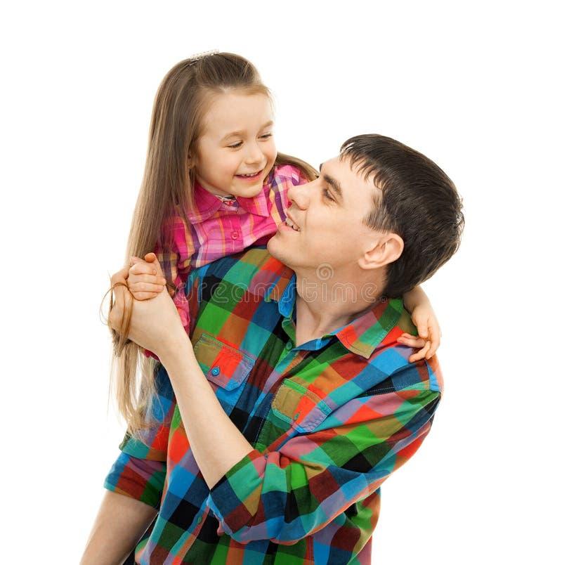 Père joyeux avec la fille insouciante et heureuse image libre de droits