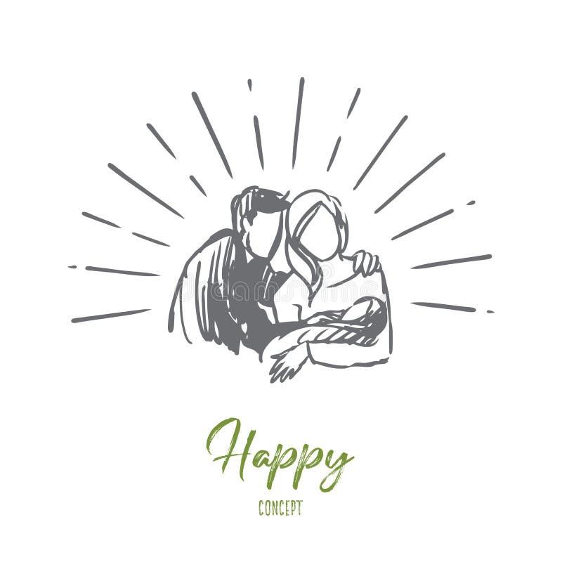 Père, mère, heureuse, enfant, concept nouveau-né Vecteur d'isolement tiré par la main illustration stock