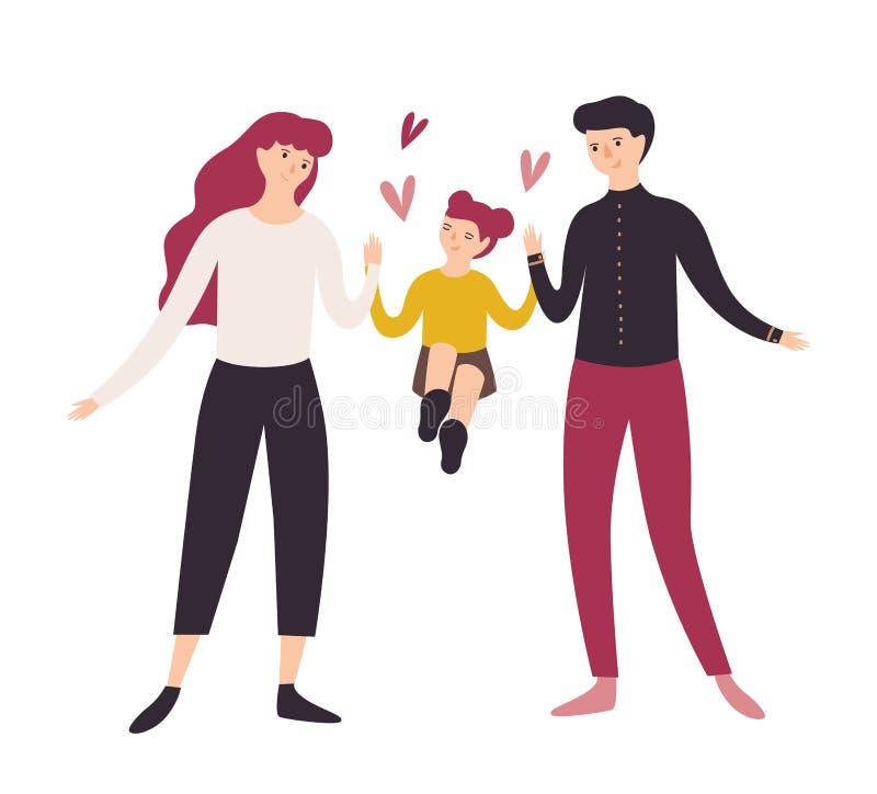 Père, mère joyeuse et fille marchant ensemble Papa de sourire, maman et leur petite fille tenant des mains Dessin animé drôle illustration de vecteur