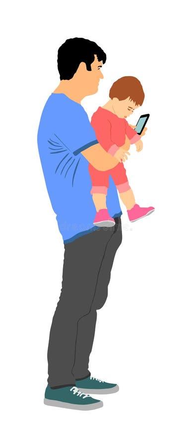 Père maladroit maladroit avec le bébé à disposition observant dans l'illustration de vecteur de téléphone illustration de vecteur