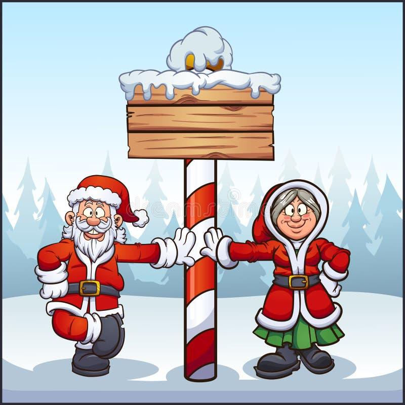 Père Noël et Madame. Santa at North Pôle avec panneau en bois illustration de vecteur