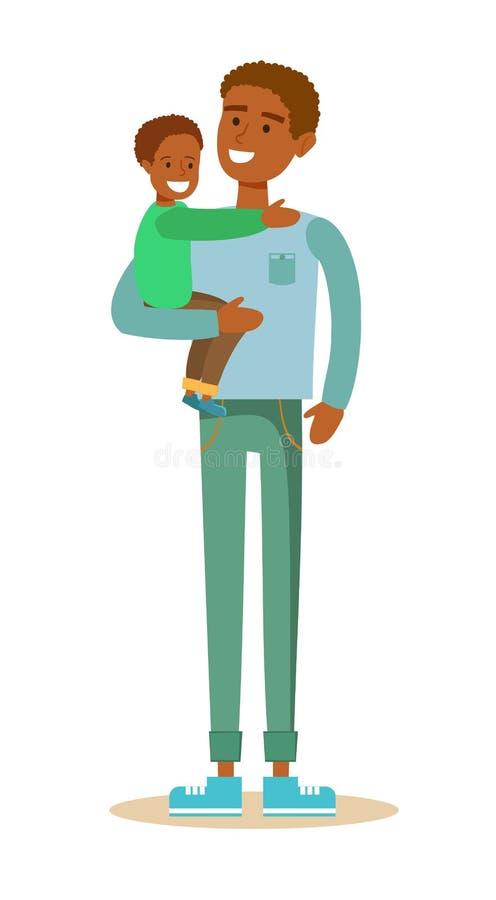 Père noir et son enfant illustration de vecteur