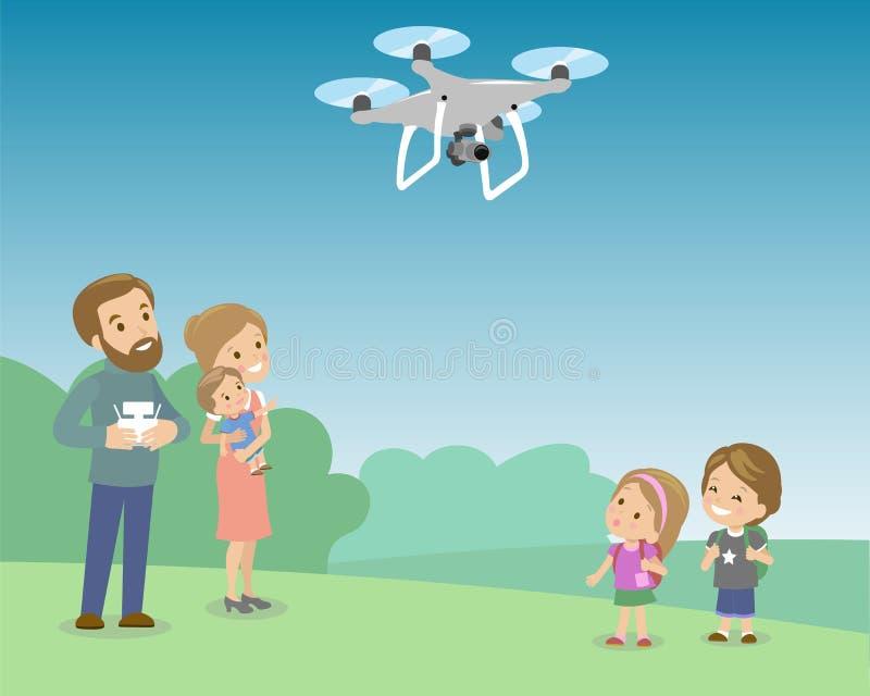 Père Operating Drone By à télécommande avec des enfants en parc Enfants regardant sur le quadrocopter Vecteur plat illustration de vecteur