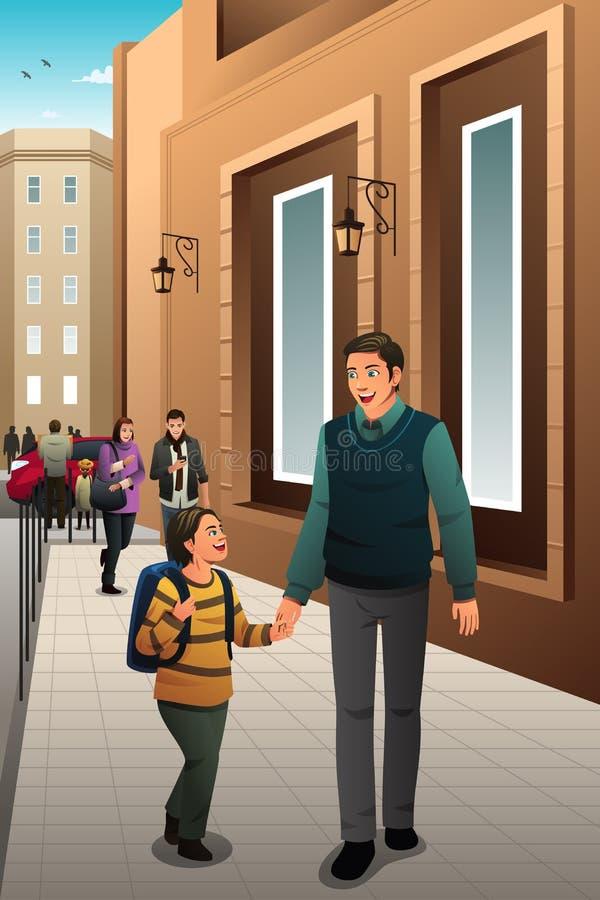 Père Son Walking à l'école illustration libre de droits