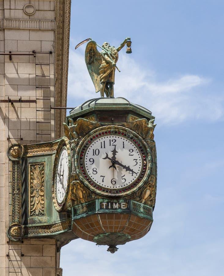 Père Time Clock sur des bijoutiers construisant, Chicago photos libres de droits