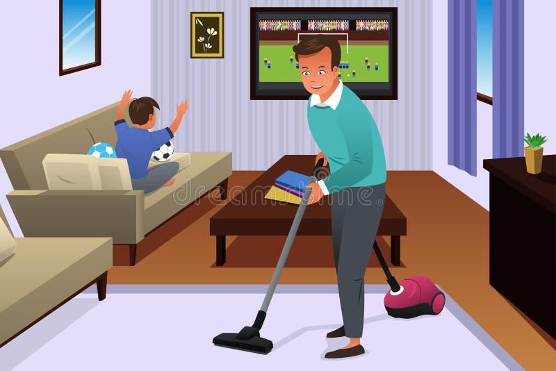 Père Vacuuming le tapis dans la Chambre illustration libre de droits