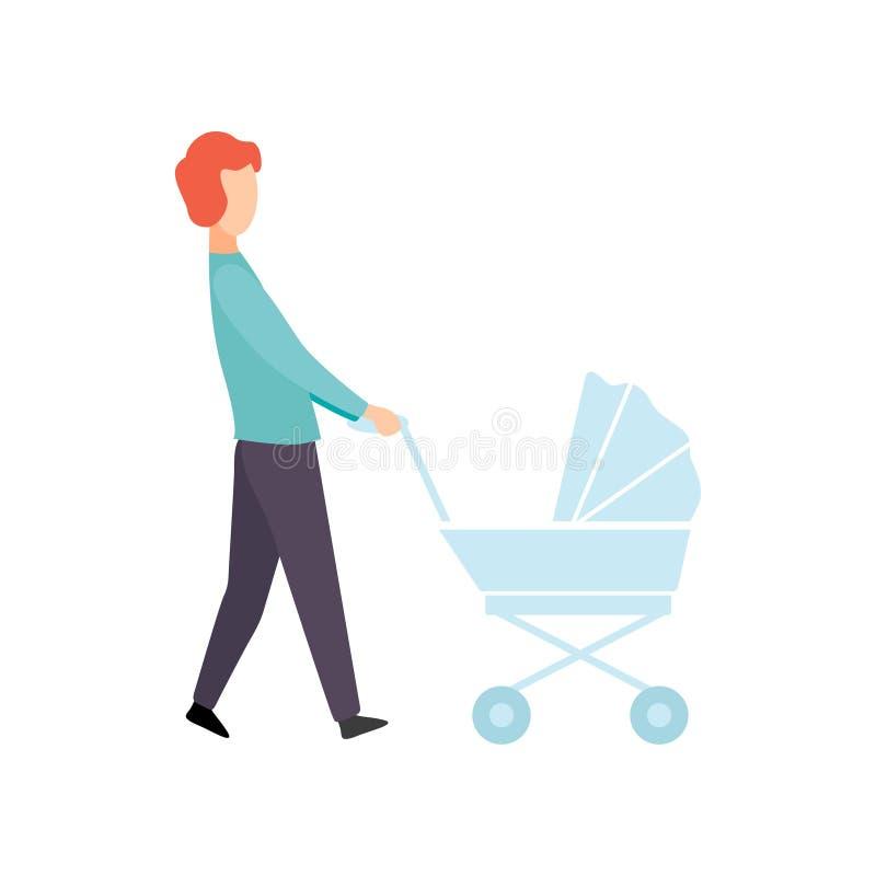 Père Walking avec la poussette de bébé, parent prenant soin de son illustration de vecteur d'enfant illustration libre de droits