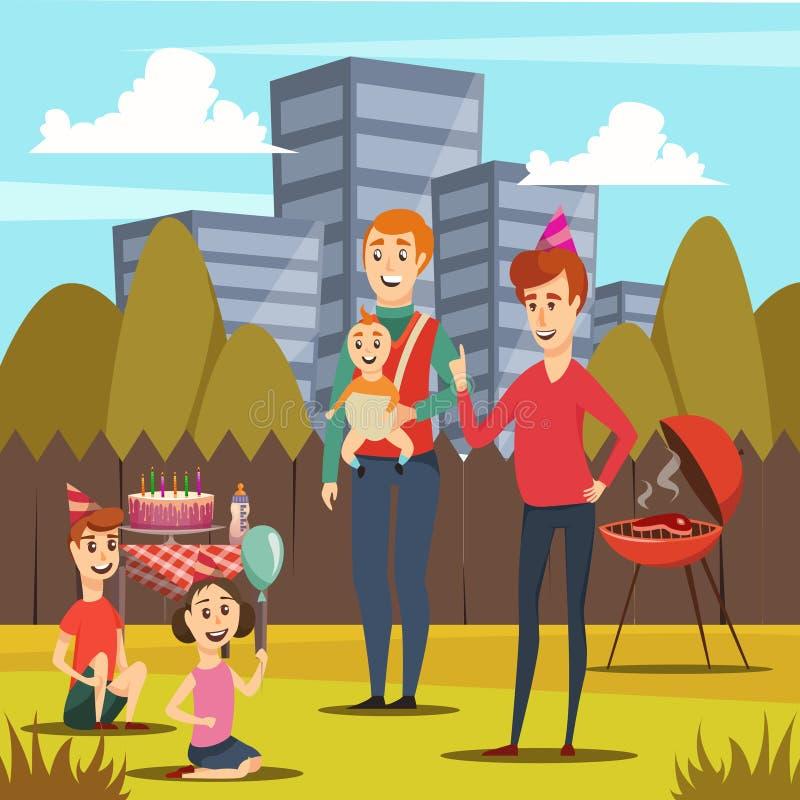 Pères et composition orthogonale en enfants illustration de vecteur