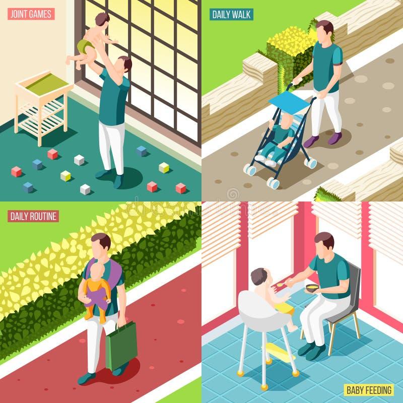 Pères sur le concept de construction des congés de maternité 2x2 illustration de vecteur