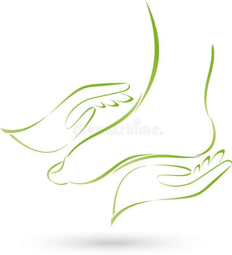 Pé e dois logotipos do cuidado das mãos, da massagem e de pé ilustração royalty free