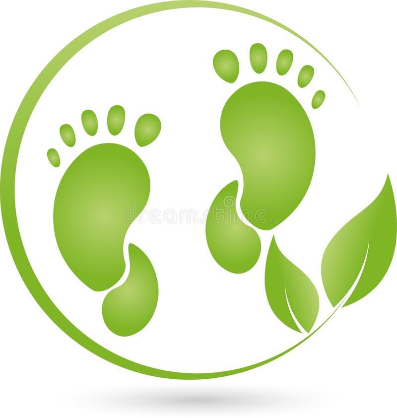 Pé e planta, folhas, cuidado de pé e logotipo da ortopedia ilustração royalty free