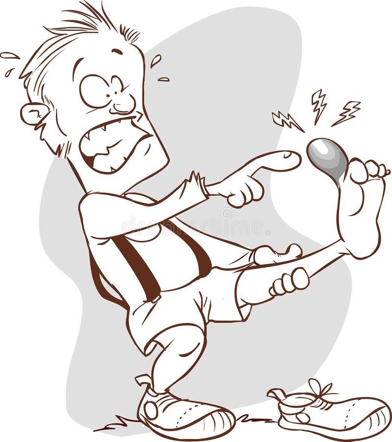 Pé ferido homem (preto e branco) ilustração royalty free
