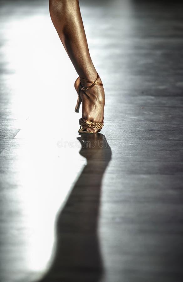 Pé latino profissional da dança do ` s das mulheres foto de stock