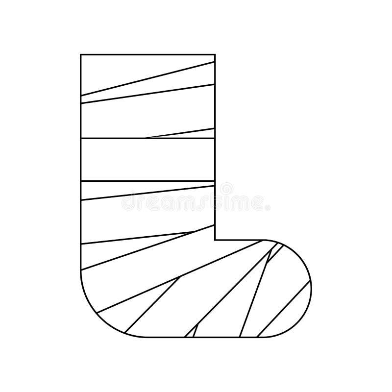 Pé na gipsita isolada Dispositivo médico Ilustração do vetor ilustração stock
