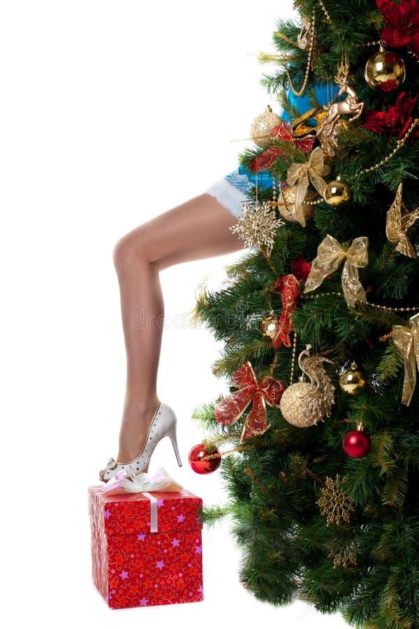 Pé 'sexy' da mostra da menina do Natal da árvore do ano novo fotografia de stock royalty free