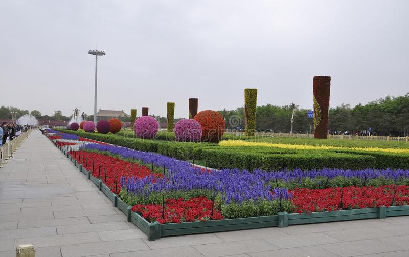 Pékin, 5ème peut : Grand affichage floral dans la Place Tiananmen dans Pékin image libre de droits