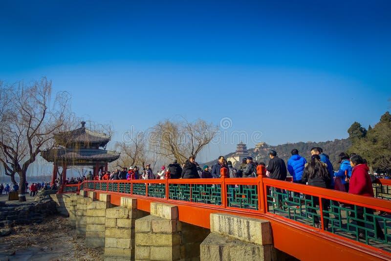 PÉKIN, CHINE - 29 JANVIER 2017 : Marchant autour du complexe de palais de ressort, un ensemble spectaculaire de lacs, jardins et photos stock