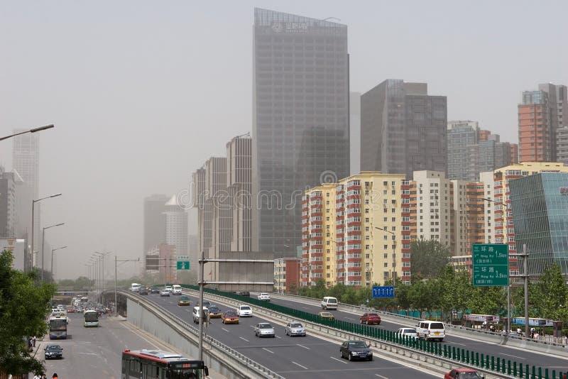 Pékin en tempête de sable photos stock