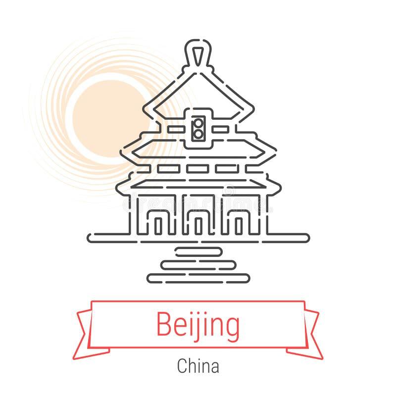 Pékin, ligne icône de vecteur de la Chine illustration libre de droits