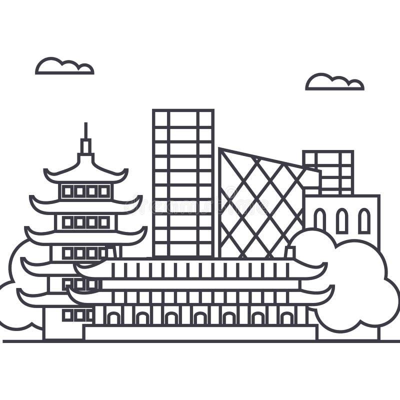 Pékin, ligne icône, signe, illustration de vecteur de porcelaine sur le fond, courses editable illustration stock