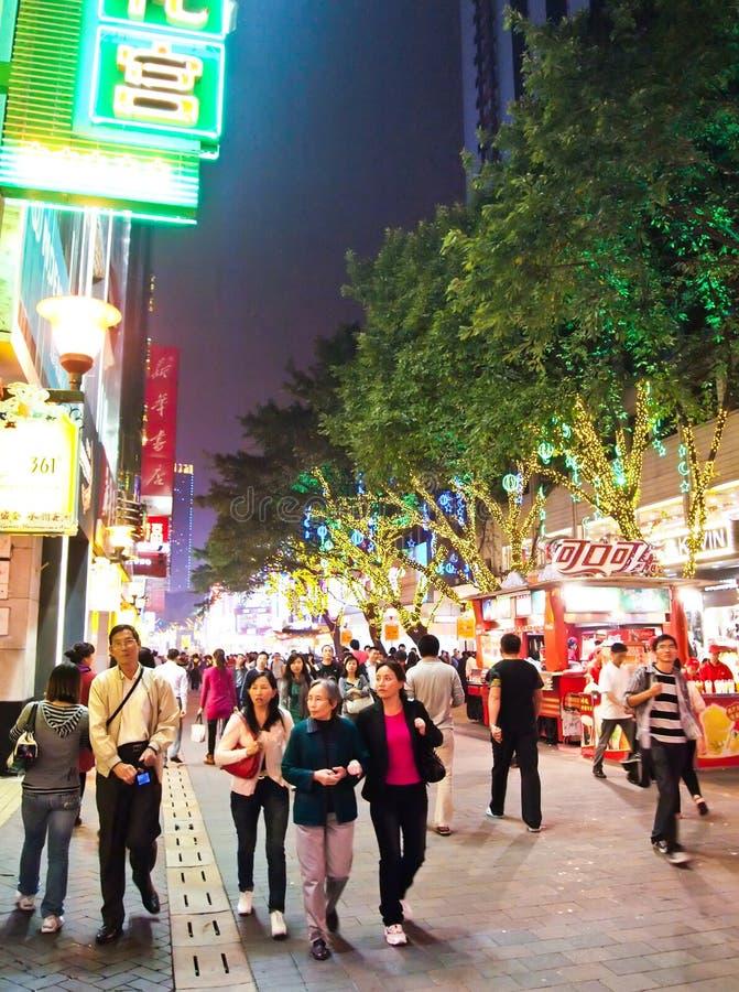 Pékin Lu, Steet de achat principal dans Guangzhou. photographie stock libre de droits