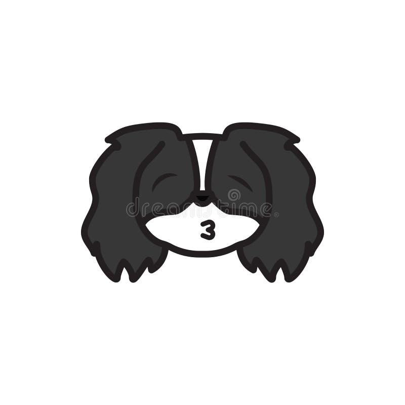 Pékinois, emoji, embrassant, icône multicolore de yeux fermés Des signes et l'icône de symboles peuvent être employés pour le Web illustration de vecteur