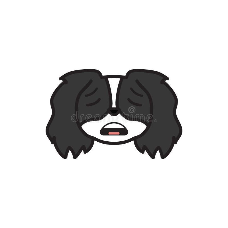 Pékinois, emoji, icône multicolore effrayée Des signes et l'icône de symboles peuvent être employés pour le Web, logo, l'appli mo illustration de vecteur