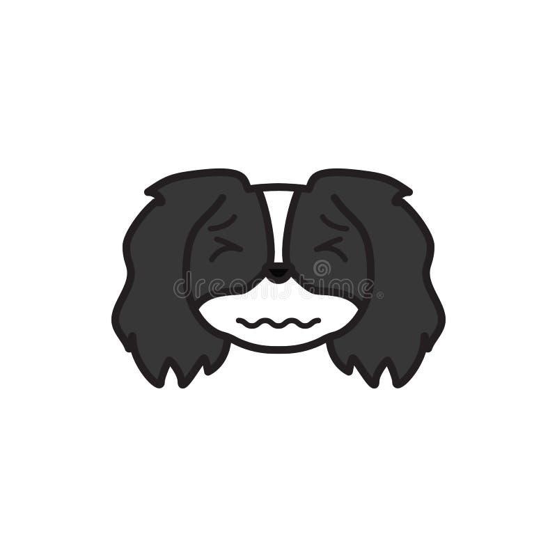 Pékinois, emoji, icône multicolore soumise à une contrainte Des signes et l'icône de symboles peuvent être employés pour le Web,  illustration stock