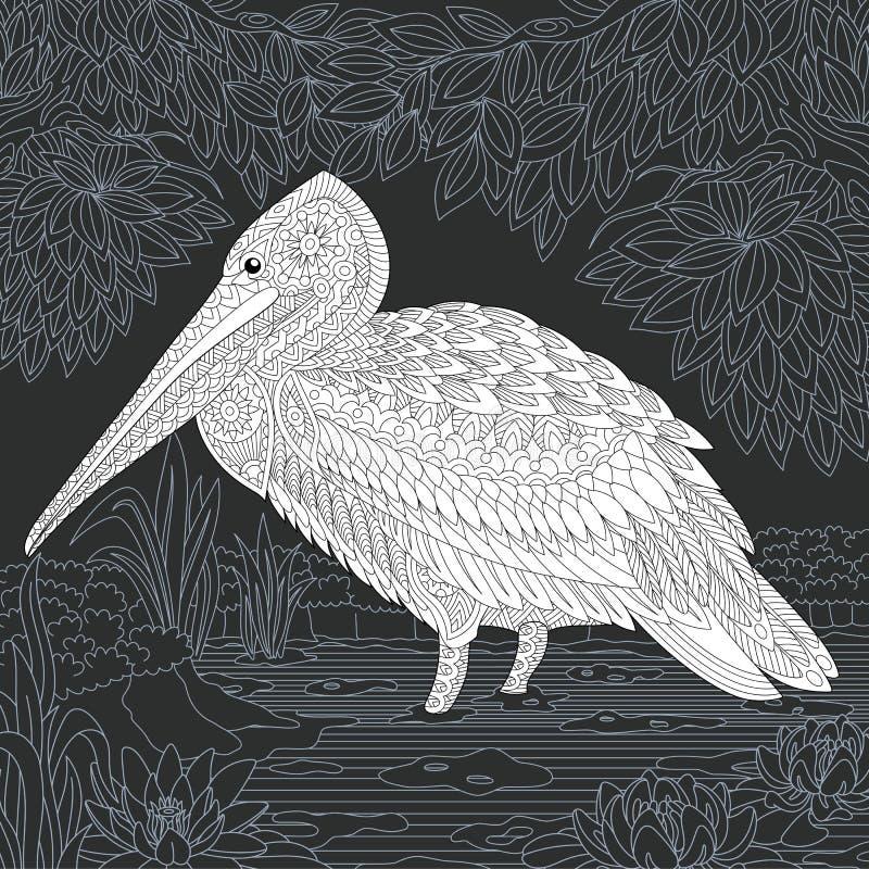 Pélican dans le style noir et blanc illustration de vecteur