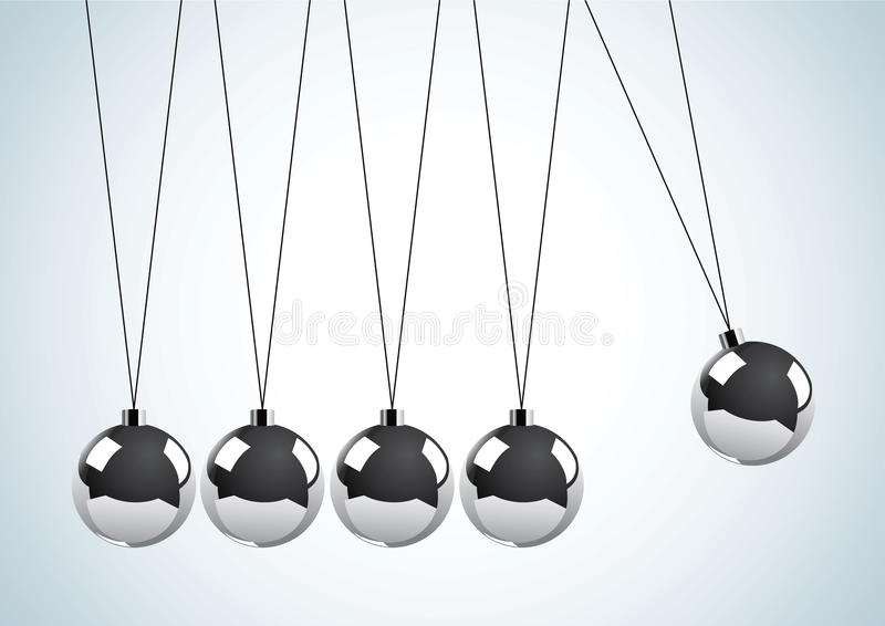 Péndulo con las bolas de metal ilustración del vector