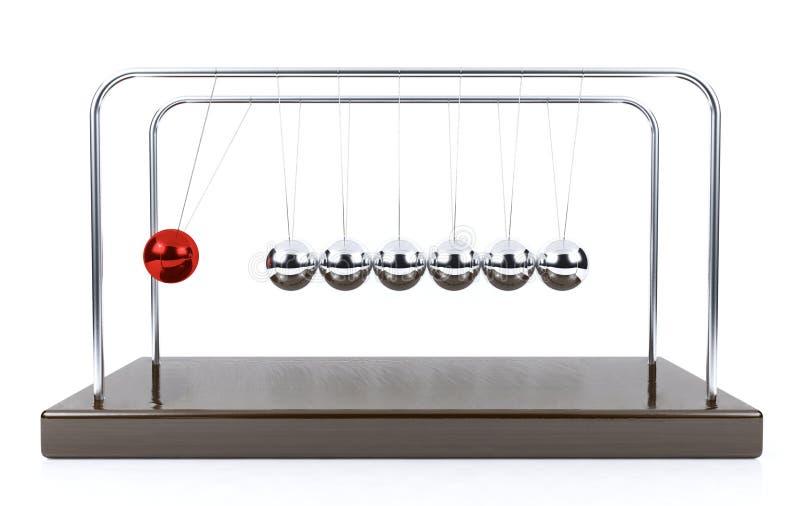 Péndulo de equilibrio de la cuna del ` s de Newton de la bola aislado en el fondo blanco foto de archivo
