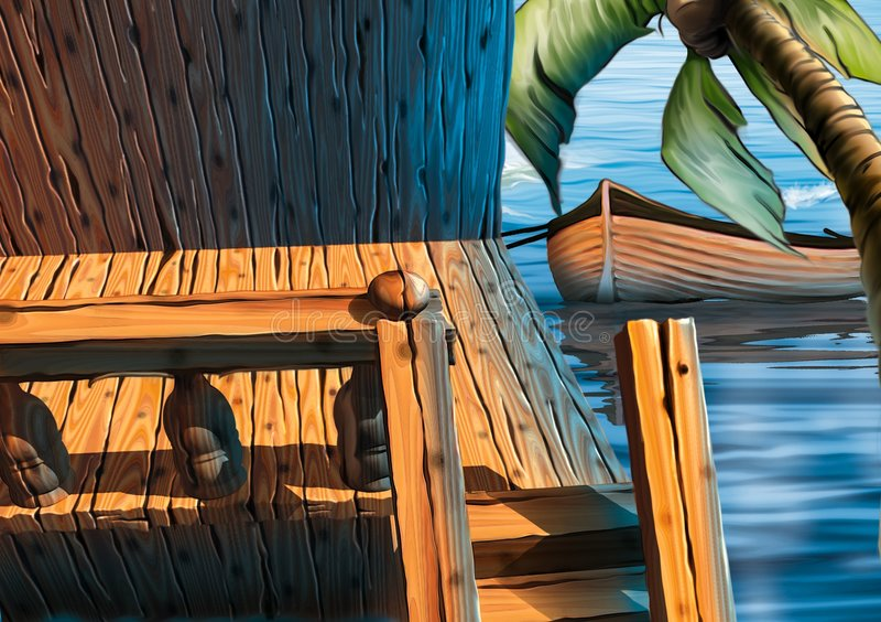 Péniche aménagée en habitation de véranda illustration de vecteur