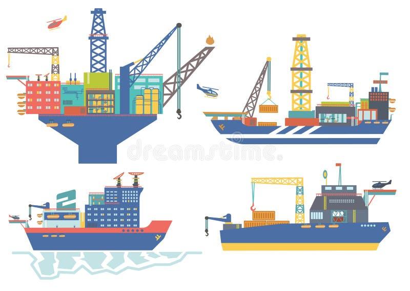 Péniche de plateforme pétrolière, de drillship, de pétrole et de gaz, vecteur IL de brise-glace image stock