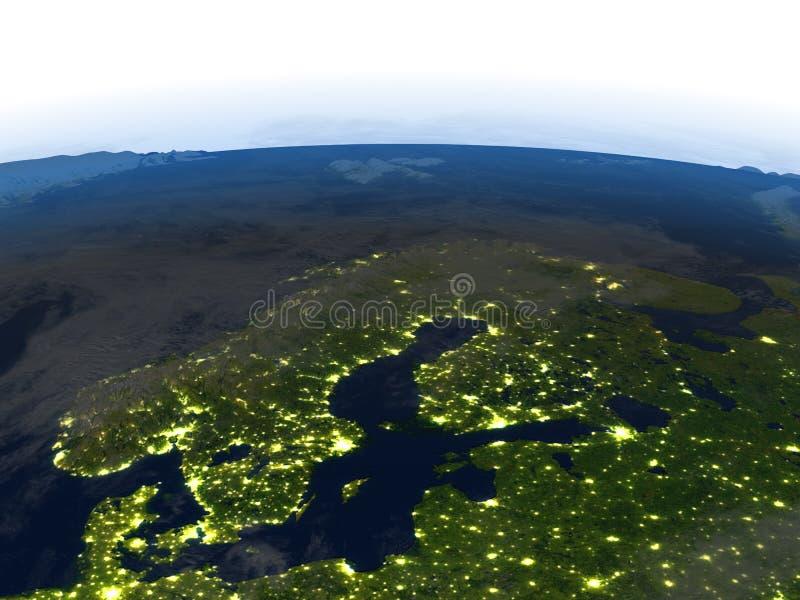 Download Péninsule Scandinave La Nuit Sur Terre De Planète Illustration Stock - Illustration du globe, earth: 87700572