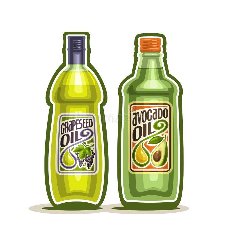 Pépin de raisin de logo de vecteur, bouteille d'huile d'avocat illustration libre de droits