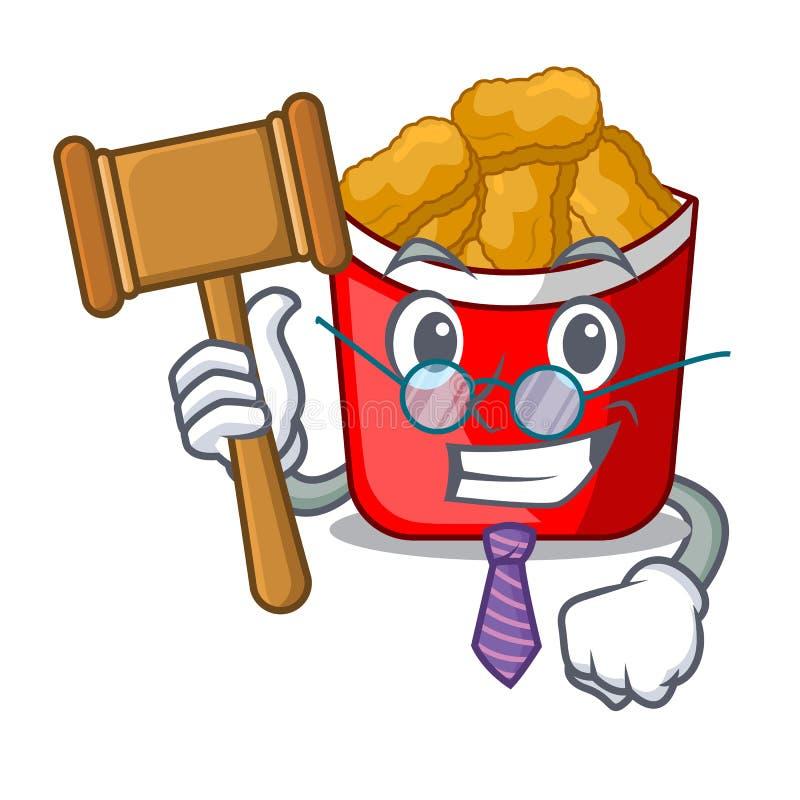Pépites de poulet de juge dans une cuvette de mascotte illustration stock
