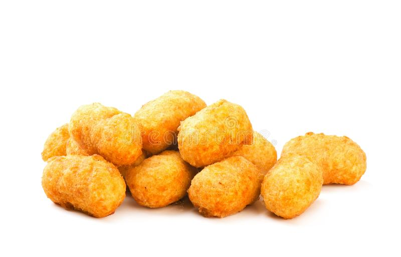 Pépites de poulet rondes croustillantes frites photo libre de droits