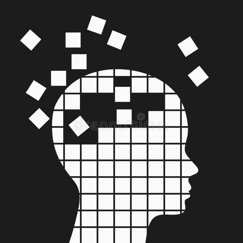 Pérdida de memoria, ejemplo neurológico del concepto de los problemas libre illustration