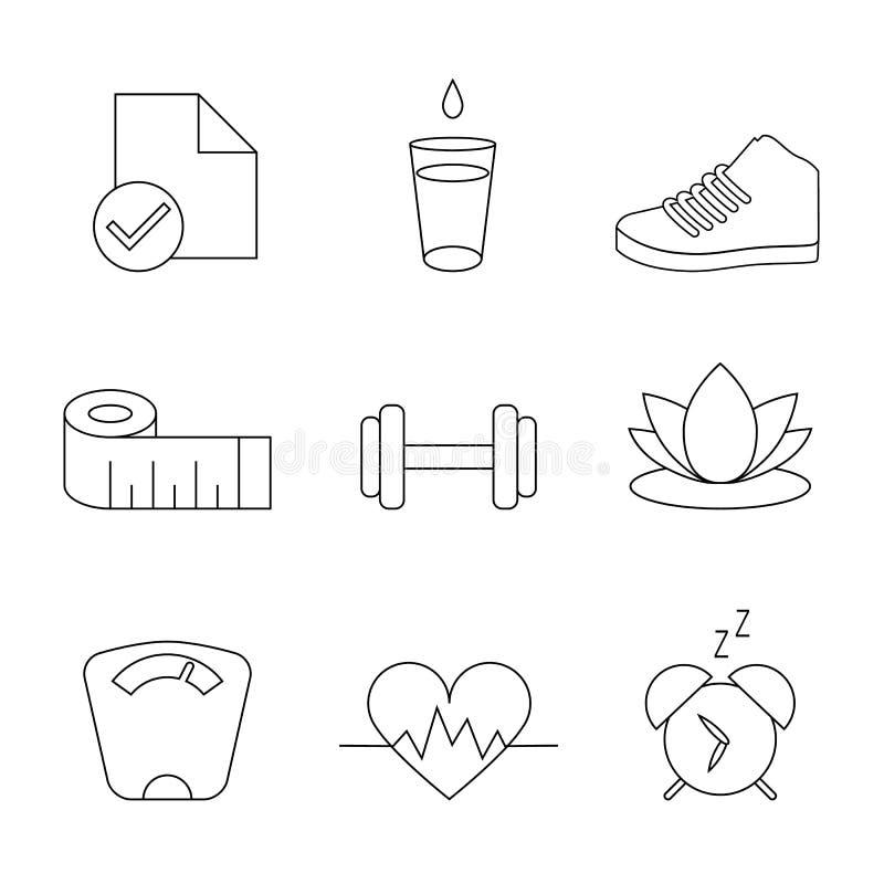 Pérdida de peso, dieta, organizador Tracking Isolated Symbols, línea sistema de la aptitud del vector del icono stock de ilustración