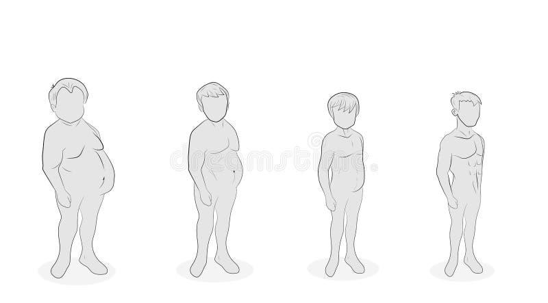 Pérdida de peso de los hombres diversas etapas de lo completo Forma de vida sana Nutrición apropiada Ilustración del vector stock de ilustración
