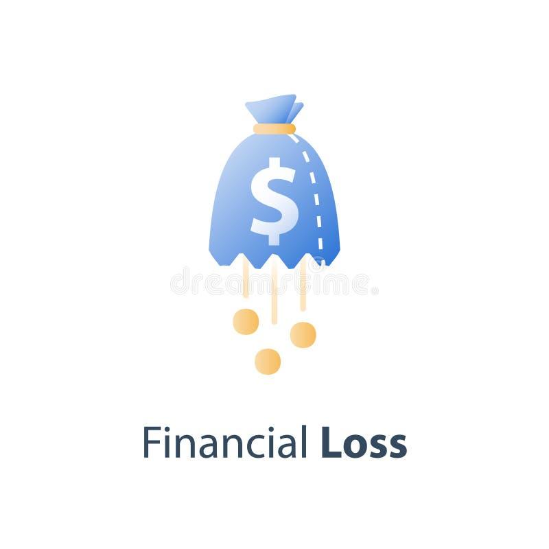 Pérdida del dinero, concepto costado hundido, falta de finanzas, caída del mercado de acción, fondo de cobertura de la inversión, ilustración del vector
