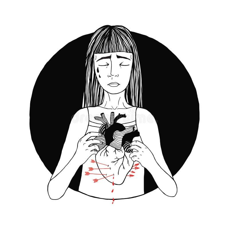 Pérdida triste y sufridora de la muchacha de amor mujeres, concepto del corazón quebrado Ilustración drenada mano ilustración del vector