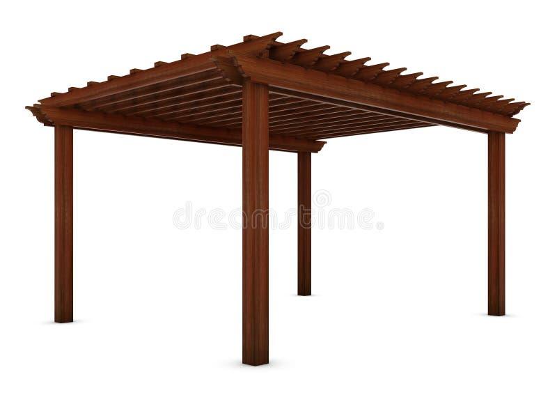 Pérgola de madera en el blanco ilustración del vector