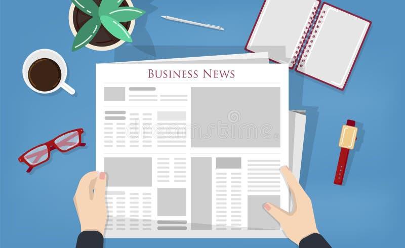 Périodique de lecture de personne ou presse typographique avec les actualités d'affaires, économiques ou financières Homme s'asse illustration libre de droits