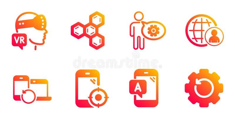 Périphériques de récupération, jeux d'icônes de test Cogwheel et Ab Vecteur illustration de vecteur