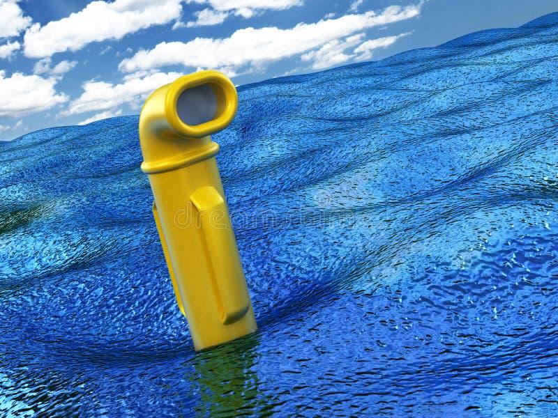 Périscope jaune au-dessus de l'eau illustration libre de droits