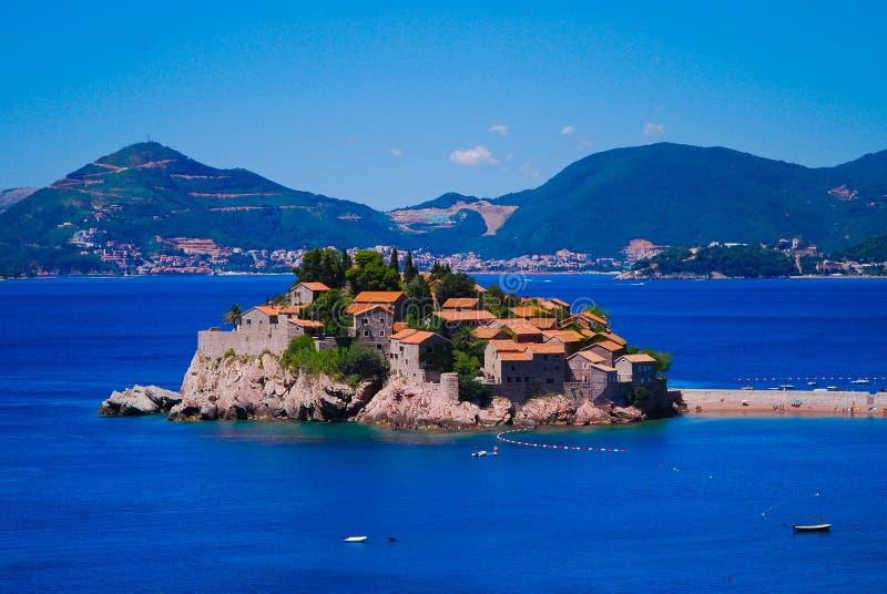 Pérola de Montenegro - Sveti Stefan fotografia de stock