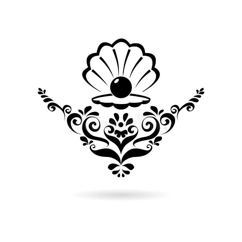 Pérola do Mar Negro no escudo aberto, no ícone do ornamento floral ou no logotipo ilustração do vetor