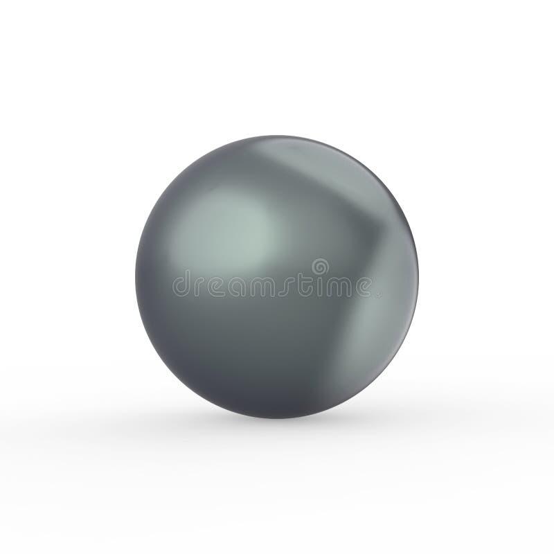 pérola do preto do verde da ilustração 3D com uma sombra em um backg branco ilustração do vetor